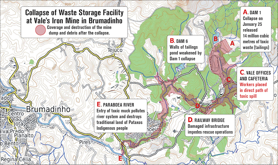 Map of tailings dam collapse disaster east of Brumadinho at the Mina Córrego do Feijão.